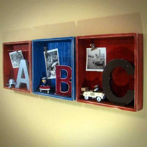 Kids room decor abc boxes 10x10 wall or shelf 3d art for 10x10 kids room