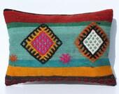 Hand Woven Wool Turkish Kilim Pillow