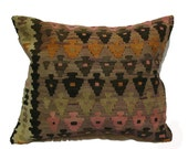 Antique Hand Woven Wool Turkish Kilim Pillow