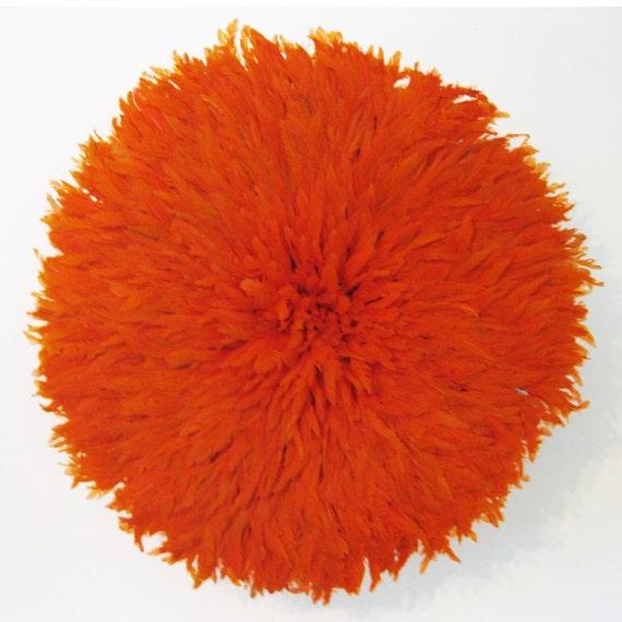 "Orange Feathered Juju Hat 65cm / 26"" Diameter - 3 left"