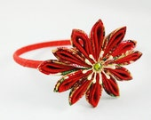 Headband with Red Kanzashi Style Flower