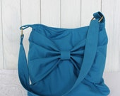 Organic Cotton Teal Blue Hobo Bag with Bow Detail