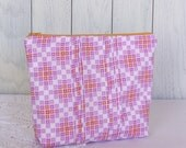 Medium Fuschia and Orange Floral Cotton Zip Pouch with Pintucked Detail OOAK