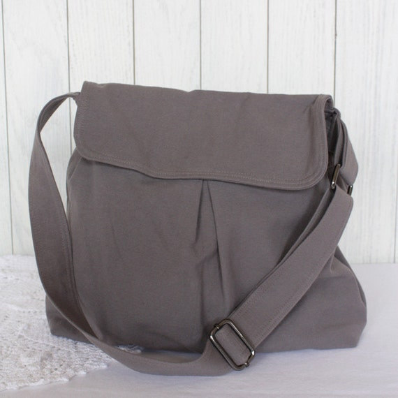 Organic Cotton Canvas Gray Steel Hobo Bag with Pleated Front