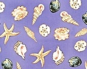 Robert Kaufman - Oceans- Seashells on Lavender- by Krista Hamrick - Novelty Fabric-Choose Your Cut 1/2 of Full Yard