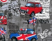 LAST YARD - Mini Cooper Madness  - Charcoal Grey - London Bridge  -  Benartex Fabric - Novelty Fabric
