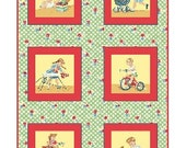 SALE - Benartex Fabric - Let's Play - Red - Children's Retro Novelty Fabric PANEL