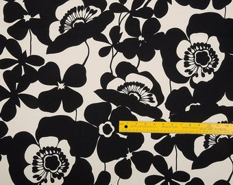 Alexander Henry Fabric- Sofia - Black/White -Upholstery Weight - Heavy Cotton Oxford