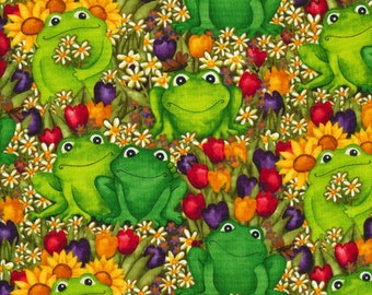 Timeless Treasures Fabric- Frogs in the Garden- Green- Choose Your Cut 1/2 or Full Yard