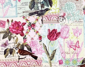 Michael Miller Fabric - French Journal Collection - Belle Rose-Pink-Choose Your Cut 1/2 or Full Yard