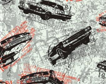 CLEARANCE - Auto Blueprint - Grey- Times of Your Life -  Benartex Fabric - Novelty Fabric