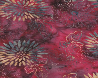 SALE - Anthology Fabric - Red Floral Swirl -Hand Dyed Batik