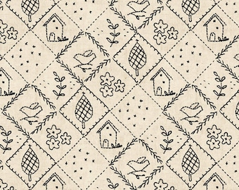 Walnut Hill Farm Collection - Hilltop Embroidery Patchwork- Black  by Charlotte Lyons for Blend Fabrics