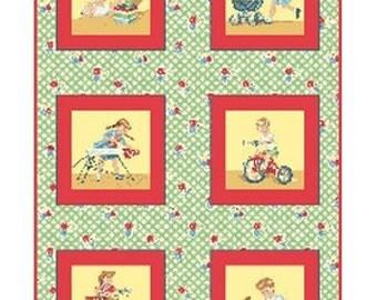 SALE - Benartex Fabric - Let's Play - Red - Children's Retro Novelty Fabric PANEL