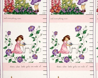 SALE - Garden Girl Growth Panel - Pink - Sprout and Spell Collection - Robert Kaufman - Novelty Panel Fabric