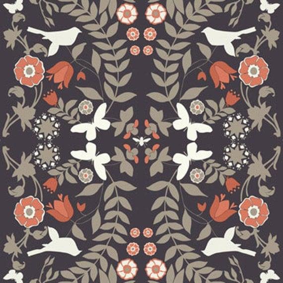 SALE - Ty Pennington Fabric - Foliage Charcoal- Home Decor Fabric