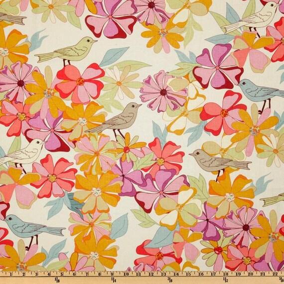 Valori Wells for Free Spirit- Jenaveve Collection -Birds Garden Fresh- Cotton Linen Blend