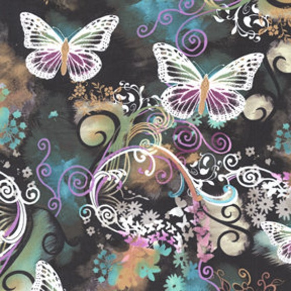 Michael Miller Fabric-Filigree Flutter - Butterfly Print - Black