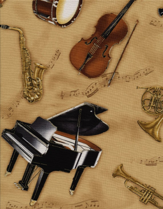 Timeless Treasures Fabric- Tossed Instruments- Gold- Novelty Fabric