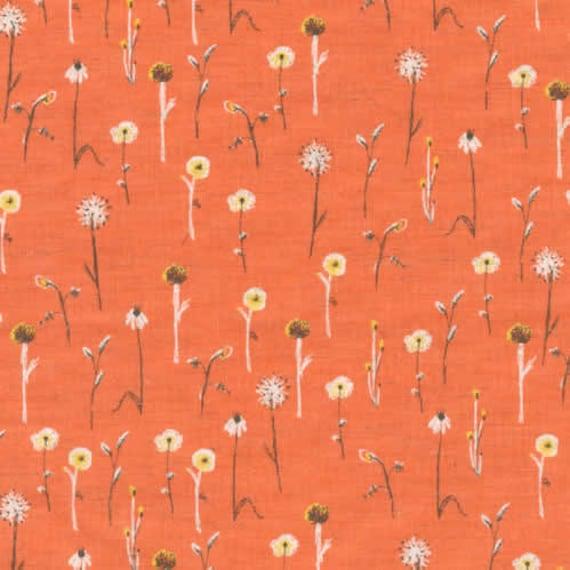 Heather Ross Fabric from Kokka- Far Far Away III Collectiion - Flower Fields in Orange