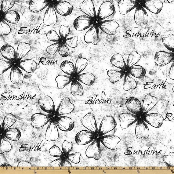 Premier Prints - Flowers Sketch - Black and White- Floral Home Decor Fabric