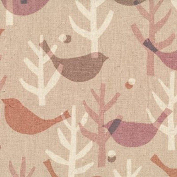 Lecien Fabric- Etoffe Imprevue Birds and Trees - Natural- Japanese Import