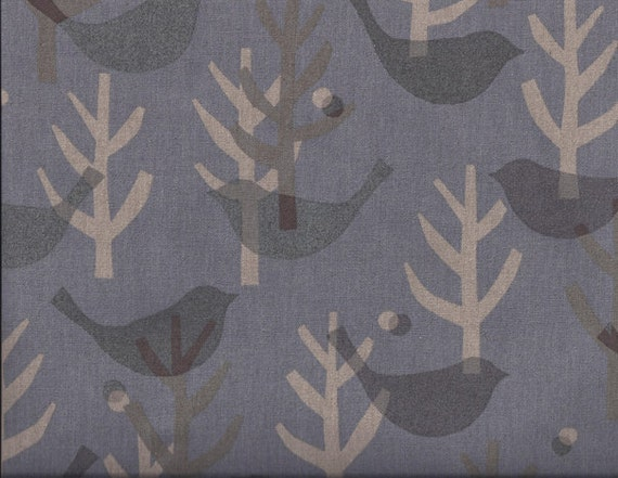 Lecien Fabric- Etoffe Imprevue - Birds and Trees - Grey- Japanese Import