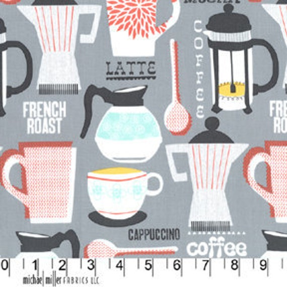 Michael Miller Fabric-  Kitchen Collection- French Roast in Gray - Novelty Fabric
