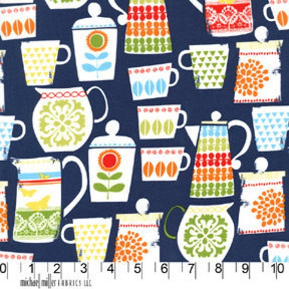 Michael Miller Fabric-  Kitchen Collection- Put A Lid On It - Nite - Novelty Fabric