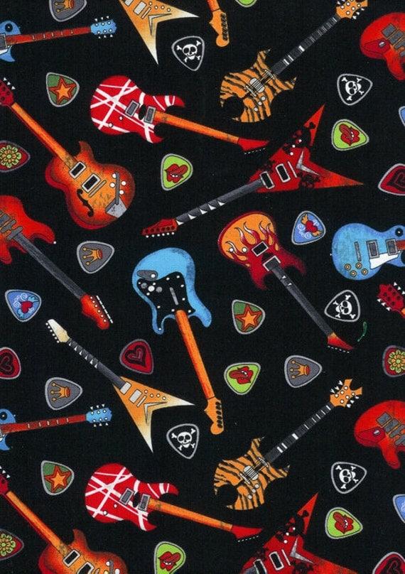 Timeless Treasures Fabric Rockstar Guitars Black Novelty