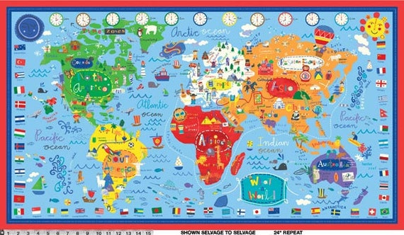 """What a World Collection by Jill McDonald for P&B Textiles - World Map - PANEL- 24"""" x 44"""""""
