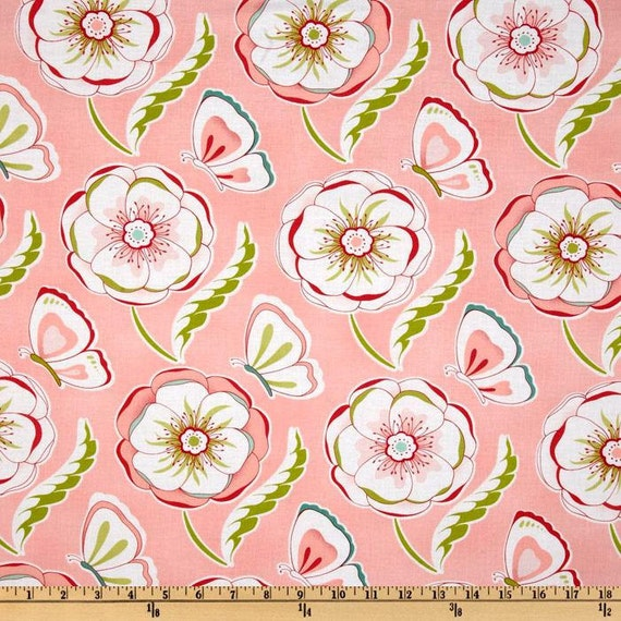 Michael Miller Fabric - Bella Butterfly Collection- Butterfly and Blossoms Pink by Patty Sloniger