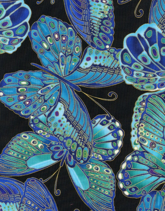 Timeless Treasures Fabric-  Shimmer Butterflies - Turquoise/Metallic Gold