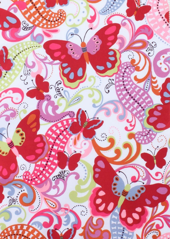 LAST YARD - Alexander Henry Fabric - Papillon Collection -Papillon - Red/Fuchsia -Butterfly Fabric