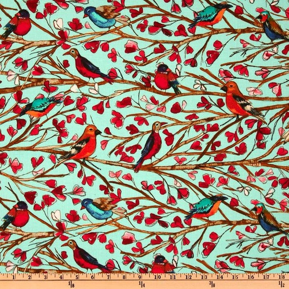 Michael Miller Fabric-Garden Wall Collection - Wing Song- Aqua by Laura Gunn