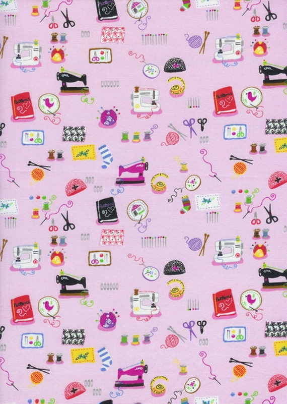 Timeless treasures fabric mini sewing by belloberryfabricshop for Novelty children s fabric