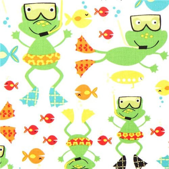 Michael Miller Fabric- Scuba Doo Frogs - White - Novelty Animal Fabric