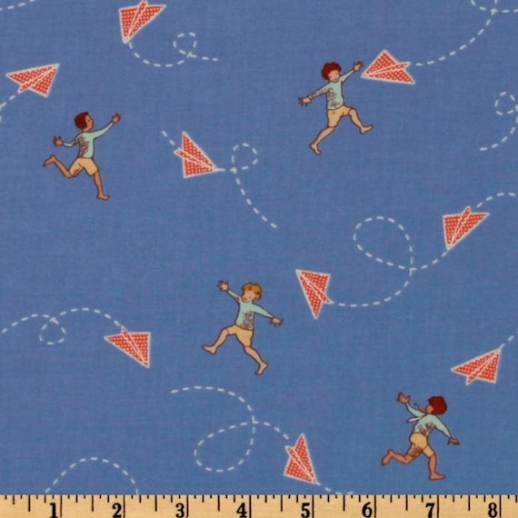 Michael Miller Fabric- Children at Play by Sarah Jane- Chasing Airplanes in Blue - Children's Novelty Fabric