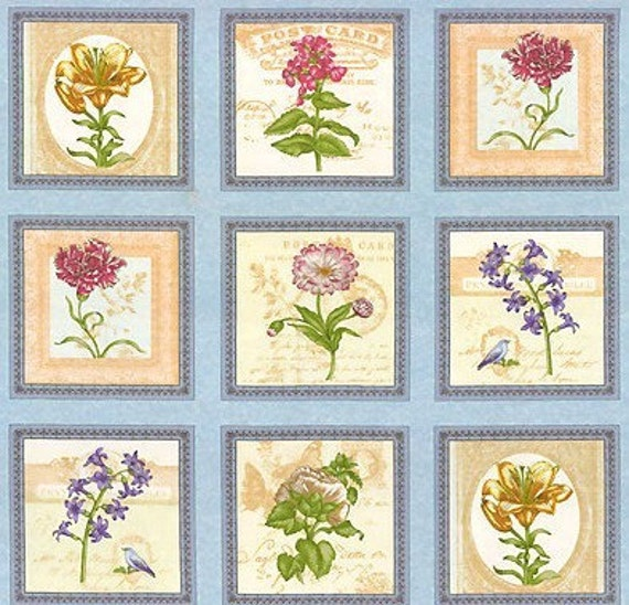 Benartex Fabric - Vintage Botanical Squares Panel  in Blue - Arboretum Collection by Michele D'Amore