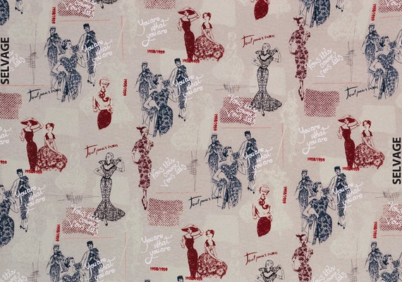 Timeless Treasures Fabric - April in Paris - Couture Ladies - Linen - Novelty Fabric