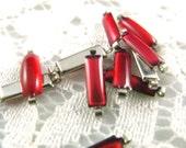 10Pcs 12MM Long Strip Translucent Red Enamel silver tone base connector links.