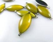 10 pcs 17mm Olive Shaped Translucent Gold Enamel silver tone base connector links.