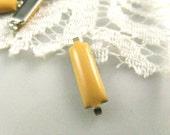 10 pcs Long Strip Cream Yellow Enamel silver tone base connector links.  0.59 inch.