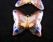 Enamel Charms - Charming Rainbow Color Cloisonne Enamel Work Butterfly Pendants. 2 Pcs 25X28mm