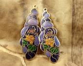 Fashion Charms - Violet Long Bouquet Cloisonne Enamel Work Pendants. 2 Pcs 48X20mm