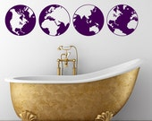Globe vinyl wall decals- map earth circle set of four decals