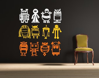 Robots wall decal LARGE size  - removable multiple robots decal - steampunk
