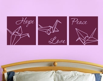 Peace, hope, love with origami cranes, set of three