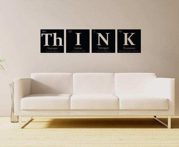 Periodic table of elements THINK Vinyl wall decal - with Leo Tolstoy quote