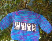 One-off hand knit baby sweater: Elementary - SALE PRICE